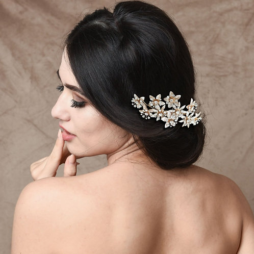 Crystal Bejewelled Hair Comb, Gold & Blush Pink, Bridal Accessories, Bridal Hair