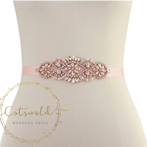 Beautiful Rose Gold Bridal Belt, Wedding Dress Belt, Pink Rose Crystal & Pearl B