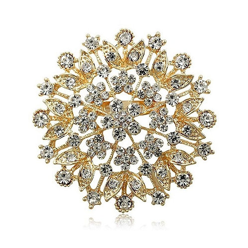 Crystal Cluster Brooch, Crystal Dress Brooch, Available in Gold or Silver, Brida