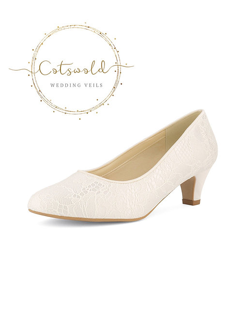 Beautiful Bridal Shoes, Classic Ivory Lace Court Shoes, Mid Heel, Simple & Elega