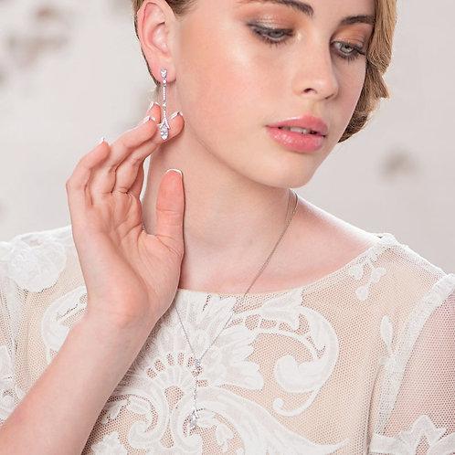 Dainty Sparkle Necklace & Earrings, Available in Silver, Bridal Accessories, Bri