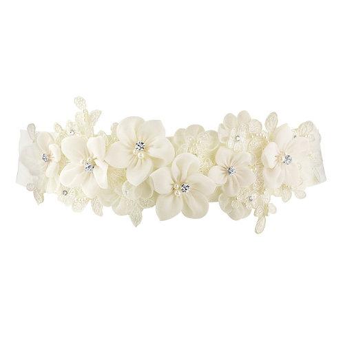 Beautiful Bridal Vintage Floral Sash,  Wedding Dress Belt, Ivory Sash, Pearl & C