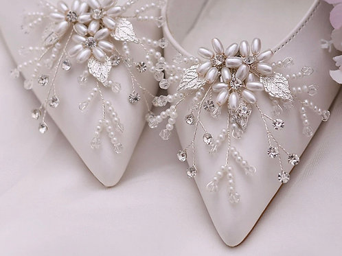 Beautiful Silver Leaf, Pearl Flower & Crystal Bridal Shoe Clips, Shoe Brooches