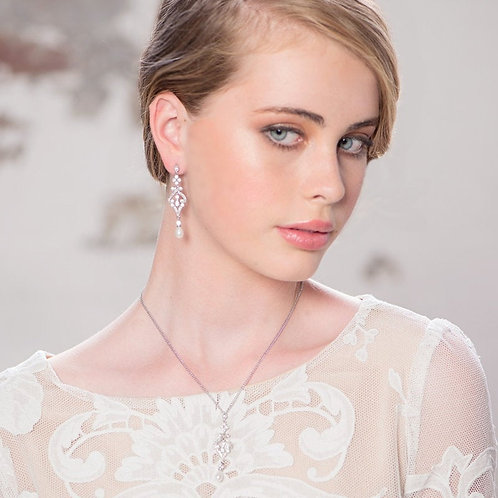 Enchanting Pearl Necklace, Silver,  Wedding Jewellery, Bridal Accessories, Cryst