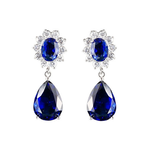 Daisy Crystal Earrings, Available in Silver or Sapphire Blue, Bridal Accessories