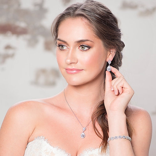 Chic Necklace Set, Necklace & Earrings, Available in Silver or Gold, Bridal Acce