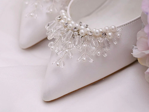 Pearl & Crystal Waterfall Bridal Shoe Clips, Beautiful Shoe Clips, Shoe Brooches