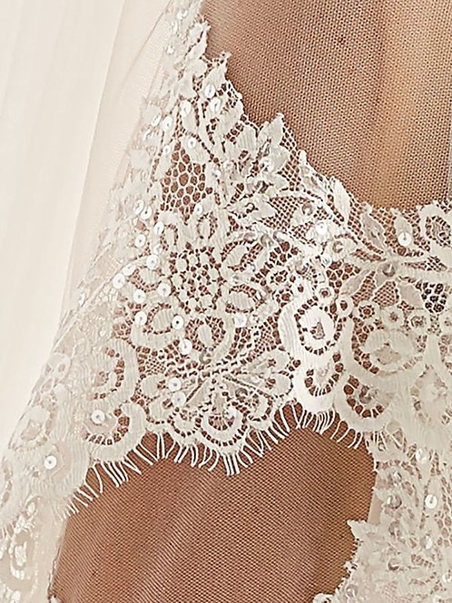 "118"" Lace Edge - 2 Layered Soft Tulle Lace Wedding Veil *SALE*"