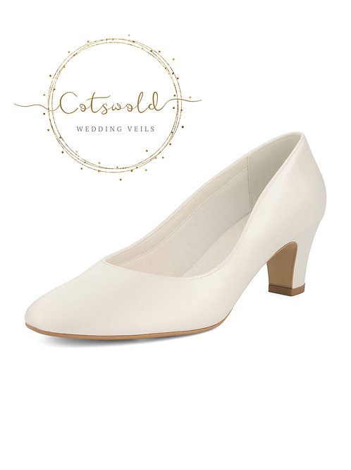 Beautiful Bridal Shoes, Classic Ivory Satin Court Shoes, Mid Heel, Simple & Eleg
