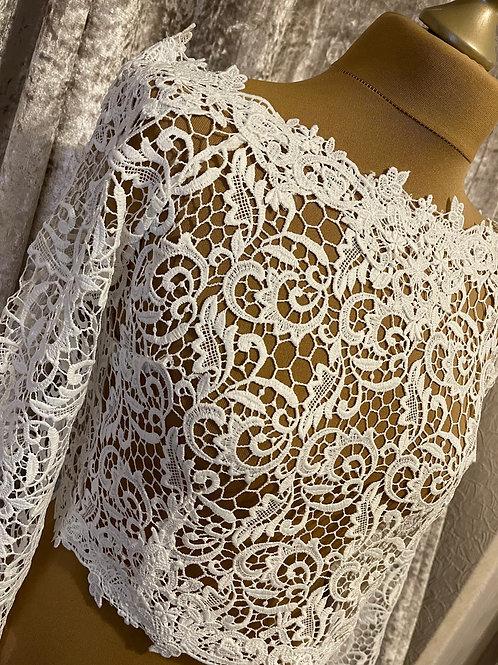 Boat Neck Floral Swirl Lace Bolero - Wedding Dress Cover Up, Bridal Accessories,