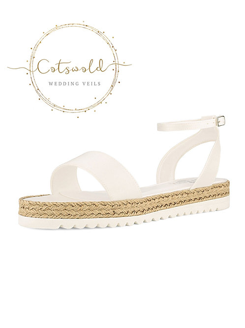 Beautiful Bridal Sandals, Ivory Satin, Rope Brides Shoes, Beach, Hippie