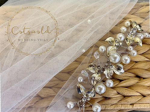"Pearl Chapel Length, 87"" Cut Edge - Soft Tulle 2 Tier Veil"