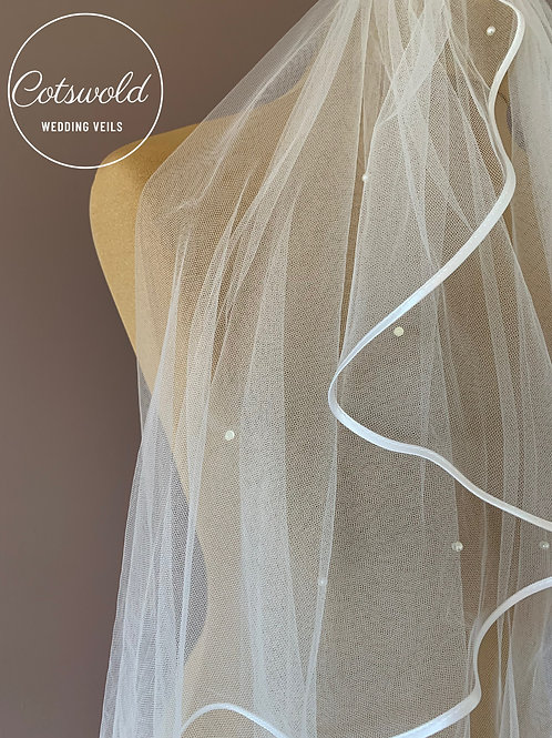"""28"""" Satin Edge - Soft Tulle single layer Veil with Pearl Detail"""