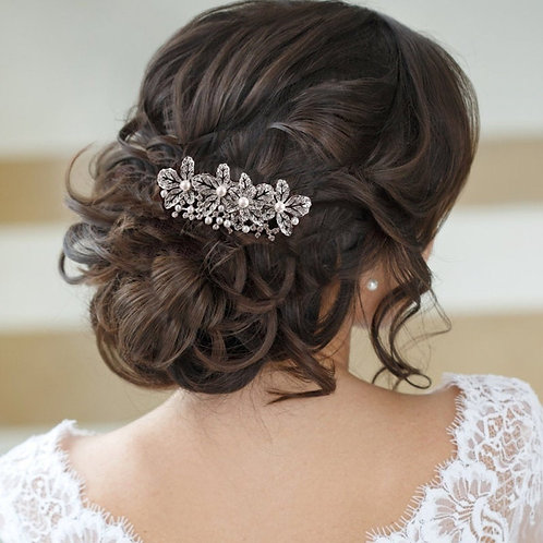 Exquisitely Pearl Hair Comb, Silver, Rose Gold, Bridal Accessories, Bridal Hair,
