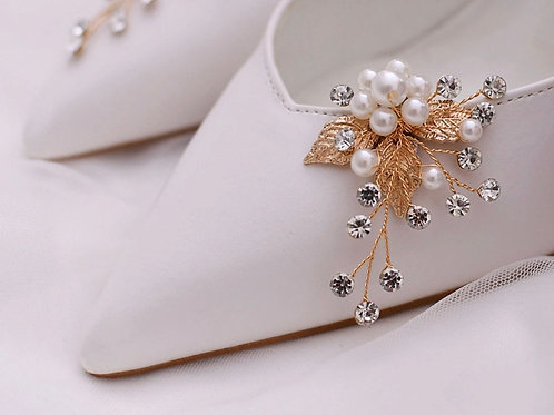 Stunning Golden Bridal Shoe Clips, Shoe Brooches, Shoe Buckles, Crystal & Pearl