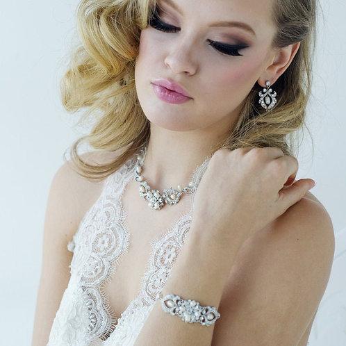 Starlet Glam Freshwater Pearl Bracelet, Silver, Bridal Accessories, Wedding Jewe