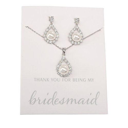Bridesmaid Jewellery Necklace Set, Pearl Necklace & Earrings, Silver or Gold