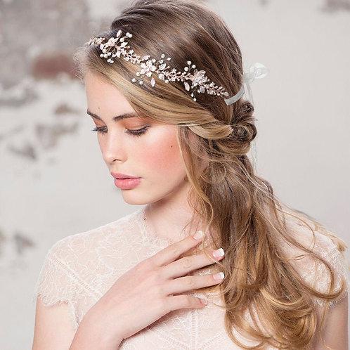Enchanting Blush Pink Hair Vine, Wedding Hair Accessories, Rose Gold, Bridal Acc
