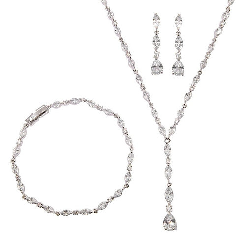 Crystal Necklace, Bracelet & Earrings, Available in Silver, Bridal Accessories,