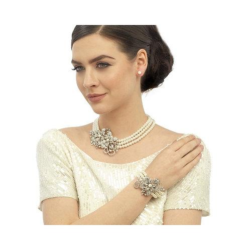 Vintage Chic Pearl Bracelet, Silver, Bridal Accessories, Wedding Jewellery, Crys