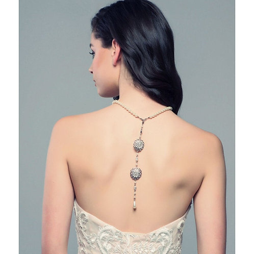 Luxe Back Drop Bridal Necklace, Vintage Pearl Drop Necklace, Silver, Gold, Rose