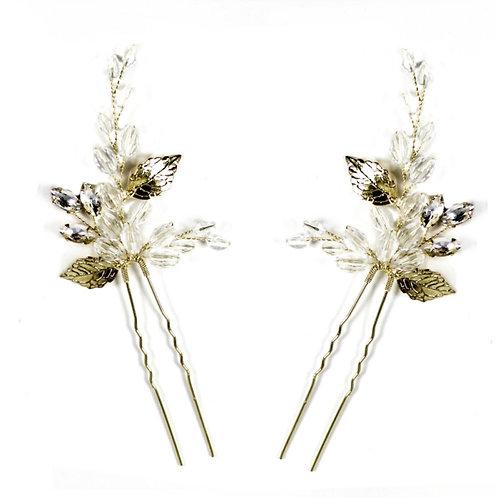 Crystal Vine Hair Pins - Set of 2, Silver or Gold, Bridal Accessories, Bridal Ha