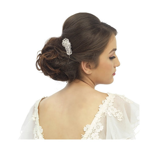 Crystal Peacock Feather Bridal  Hair Comb, Available in Silver or Rose Gold, Bri