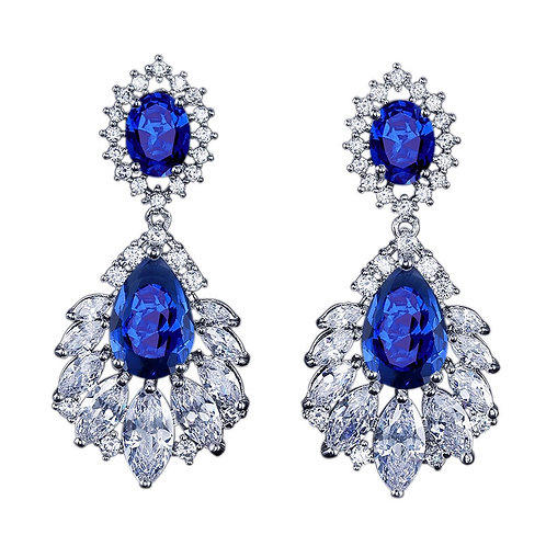 Starlet Glam Crystal Earrings, Available in Silver, Red or Sapphire Blue, Bridal