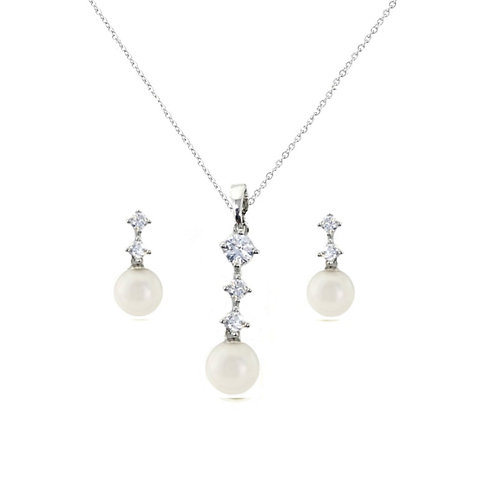 Dainty Pearl Necklace Set, Pearl Necklace & Earrings, Available in Silver, Brida