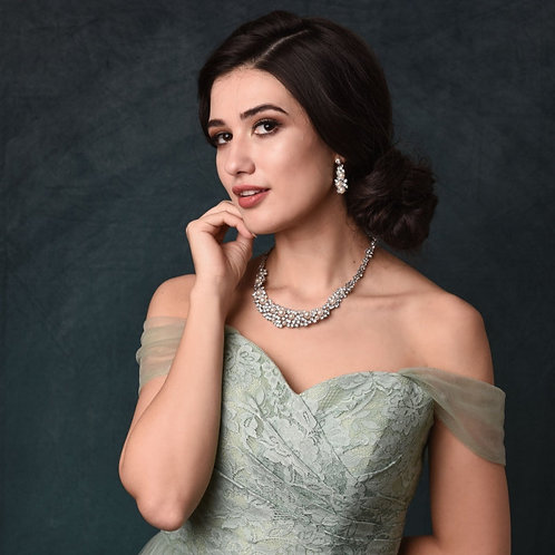 Exquisite Pearl Necklace & Earrings, Available in Silver, Bridal Accessories, Br