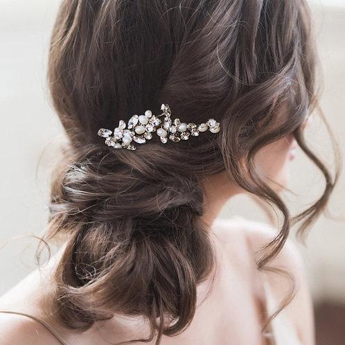 Freshwater Pearl & Crystal Hair Pin, Silver,