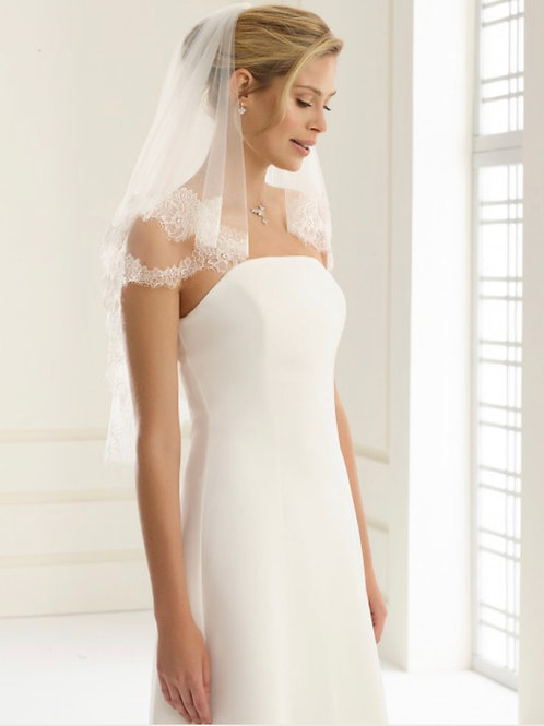 """32"""" French Lace Edge - 2 Layered Soft Tulle,  Lace Veil"""