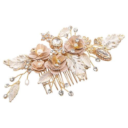 Glitzy Pink Blush Hair Comb, Gold, Pink Blush, Bridal Accessories, Bridal Hair,