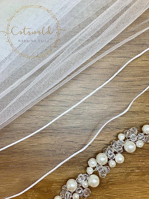 "28"" Pencil Edge - 2 Tier Soft Tulle Waist Length Veil, White or Ivory"