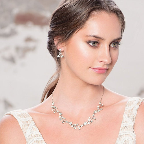 Dainty Daisy Necklace & Earrings, Crystal Pearl Floral, Available in Silver or R