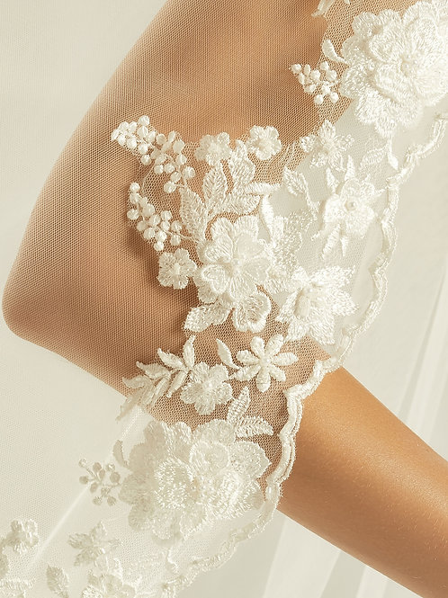 Cathedral Length Lace Edge Veil - Single Layer Soft Tulle Ivory Veil