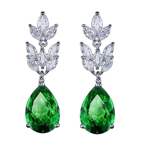 Starlet Chic Crystal Earrings, Available in Silver, Emerald Green, Red or Sapphi