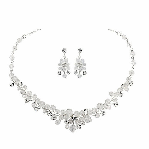 Chic Crystal Pendant Necklace Set, Necklace & Earrings, Available in Silver, Bri
