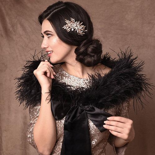 Black Ostrich Feather Stole - Beautiful High Quality Luxury Shrug, Wrap