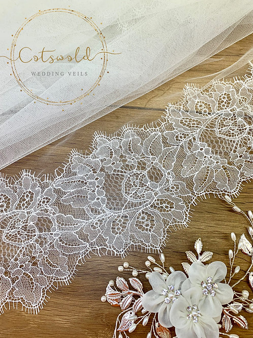 """118"""" French Lace Edge - Soft Tulle 2 Layered Veil"""