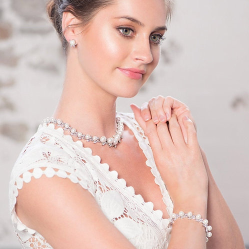 Vintage Bejewelled Pearl Necklace, Available in Silver, Wedding Jewellery, Brida