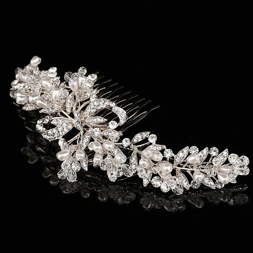 Precious Pearl Allure Comb, Available in Silver, Bridal Accessories, Bridal Hair