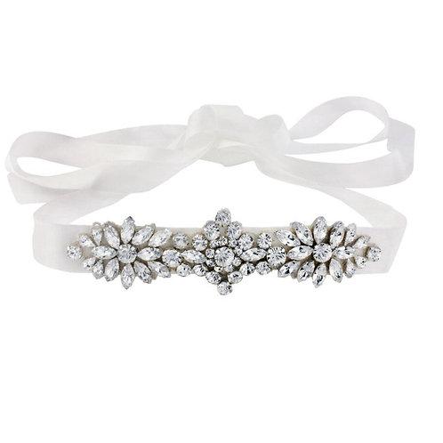 Beautiful Bridal Belt, Starlet Crystal Ivory Sash,  Wedding Dress Belt, Ivory Si