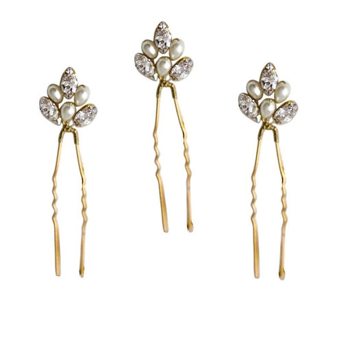 Chic Pearl Hairpins Set, Silver or Gold, Bridal Accessories, Bridal Hair, Brides