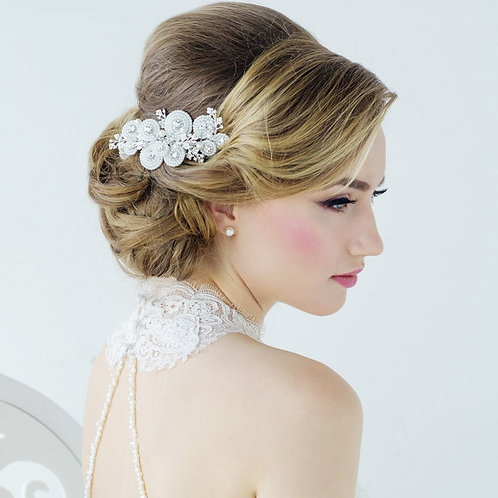 Amelia Luxe Pearl Hair Comb, Available in Silver or Gold, Bridal Accessories, Br
