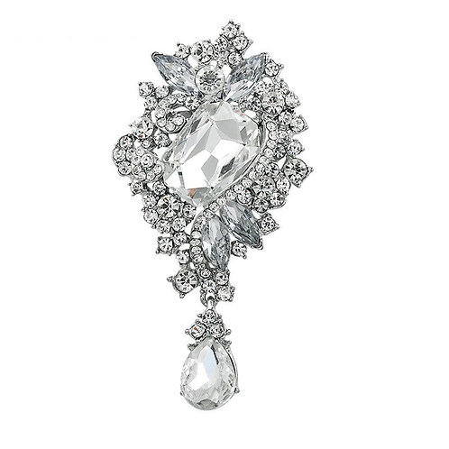 Chic Vintage Charm Brooch, Crystal Dress Brooch, Available in Silver, Bridal Acc