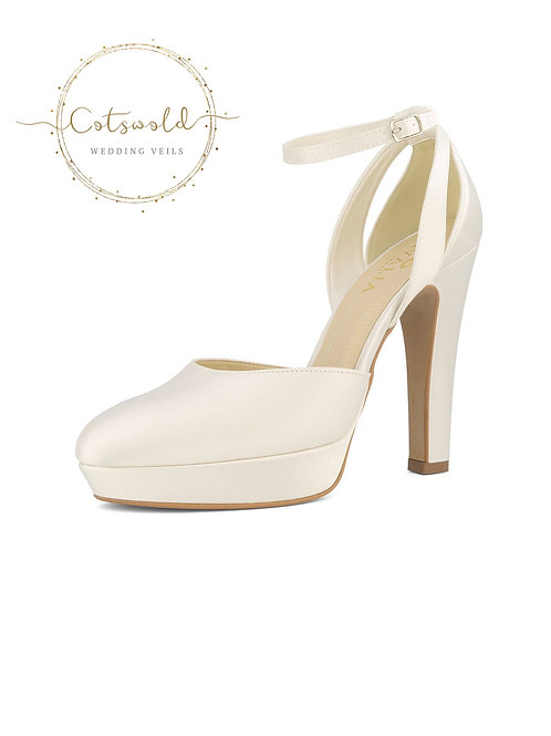 Beautiful Bridal Shoes, Ivory Satin Brides Shoes, Ankle Strap, Very High Heel, C