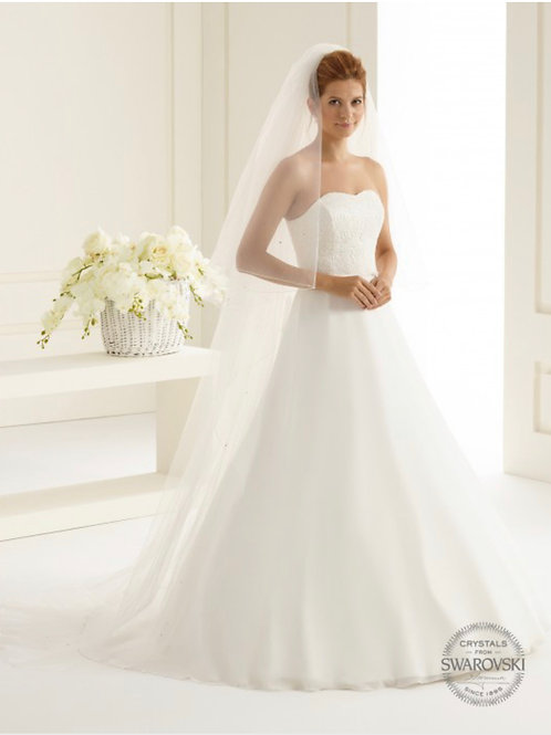 Corded Edge - 2 Layers Diamond Tulle,  Genuine Swarovski Veil 91""
