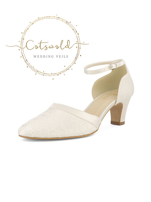 Beautiful Bridal Shoes, Ivory Satin & Lace Brides Shoes, Mid Heel , Ankle Strap