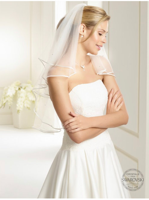 Satin Edge - 2 Layers Soft Tulle, Genuine Swarovski Veil 32""